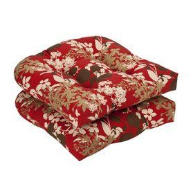 Pillow Perfect Montifleuri Red Brown Floral Seat Pad For Universal 353