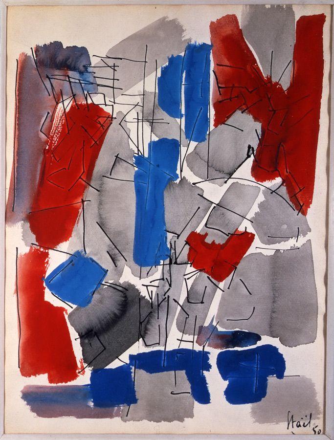 Nicolas de STAEL. Untitled 1950. Oil on canvas. Size in Cm: 73 x 54.