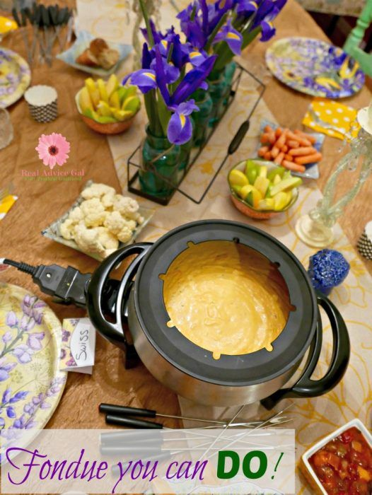 Have a fondue party! Check out my fondue party ideas and free printable fondue party invitation
