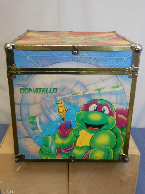 teenage mutant ninja turtles wooden toy box vintage rare