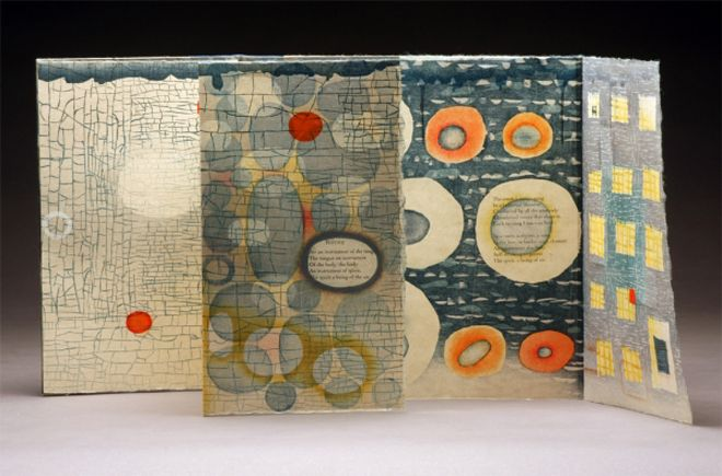 """[caption id=""""attachment_16030"""" align=""""alignnone"""" width=""""660""""] Ephemera bookwork: woodcut, polymer relief, letterpress / 10 x 6 folded, opens to 10 x 42 in.[/caption] Inspired by the natural world as well as her Nebraskan heritage, artistKaren..."""