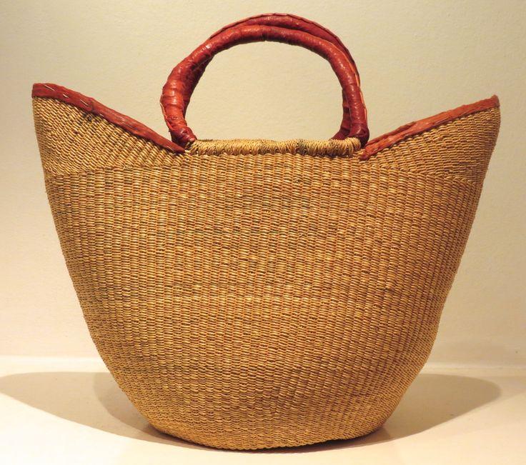 Fibre and leather basket, Ghana at Kim Sacks Gallery Johannesburg