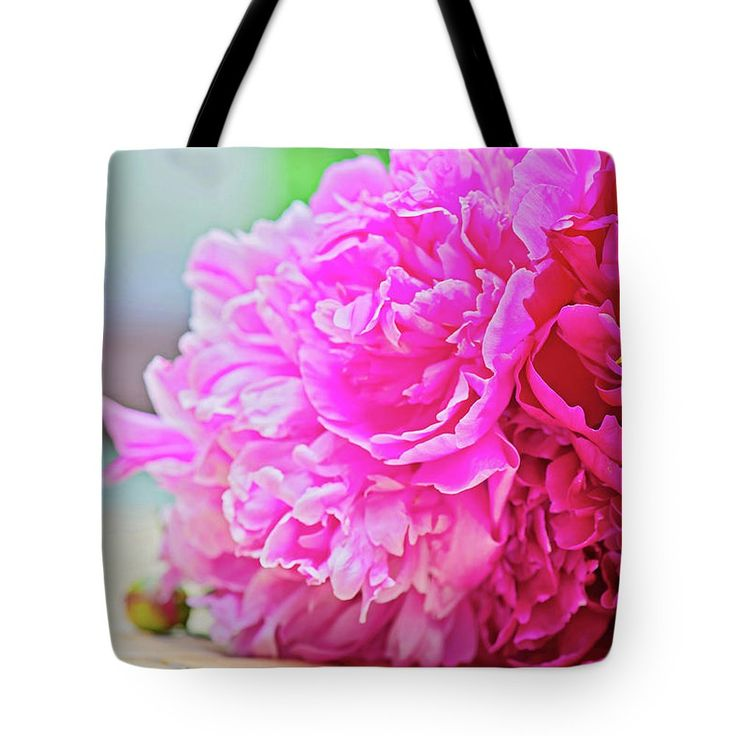Anna Maloverjan Tote Bag featuring the photograph Pink Peony Beauty by Anna Maloverjan  #peony #petals #flower #flowers #tender #delicate #tenderness #macro #blossom #pink #flora #soft #blossom #plant #bloom, #closeup #floral #flora #elegance #FramedPrints #CanvasPrints #MetalPrints #AcrylicPrints #Prints #HomeDecor #FineArtPhotography #FineArtPrint #PrintsForSale #Art #GiftIdeas