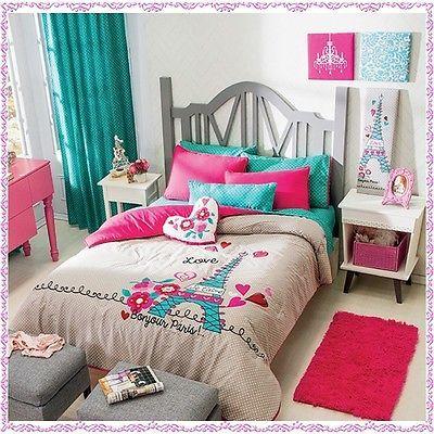 Nuevas chicas Paris rosa azul Aqua gris consolador cama hoja conjunto doble tamaño 6 PC | Casa y jardín, Niños y adolescentes en casa, Ropa de cama | eBay!