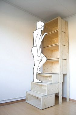 Storage: lower shelves glide out so you can step to reach top shelved items. http://www.dannykuo.com/