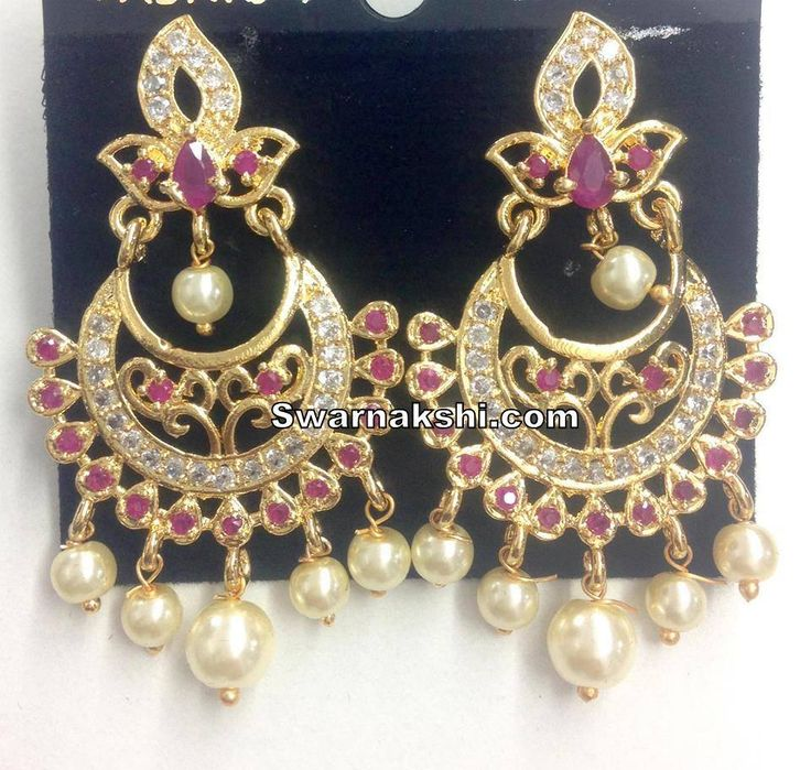 cz chandbali earirngs.. Inbox us or whatsapp to 09581193795 to buy online  Or visit our showroom at LIG block no 11, F. No 9, 3rd Phase, KPHB, Kukatpally, Hyderabad  For more collections visit http://swarnakshi.com/