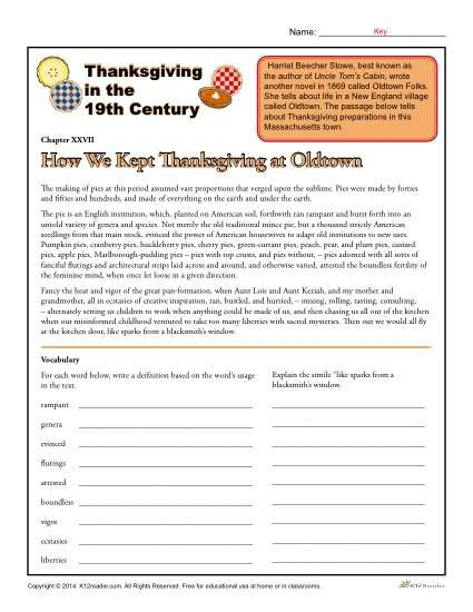 Thanksgiving In The 19th Century Holiday Classroom Activities