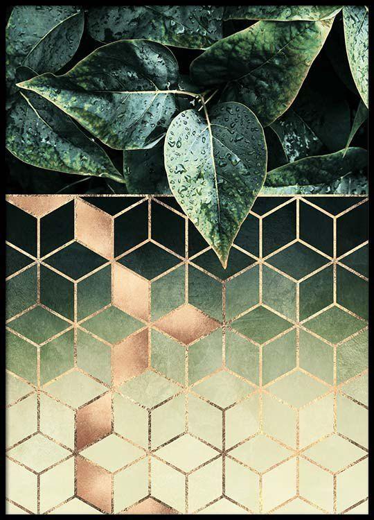 Leaves and cubes Plakat i gruppen Plakater / Størrelser / 50x70cm hos Desenio AB (2813)