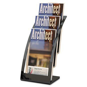 """Three-Tier Leaflet Holder, 6-3/4w x 6-15/16d x 13-5/16h, Black by Deflecto. $61.95. A contemporary, high-end alternative to traditional literature holders. Three separate compartments hold up to 1"""" of material each with additional space for business cards. Ideal for tradeshows, reception areas and waiting rooms. For Use With: N/A; HUB Compliance: N/A; Document Size Accommodation: Business Cards; Leaflets; Color: Black."""