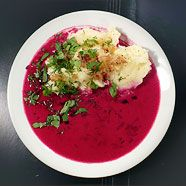 Creamy red borscht with potato. I have had this before and it is very good.