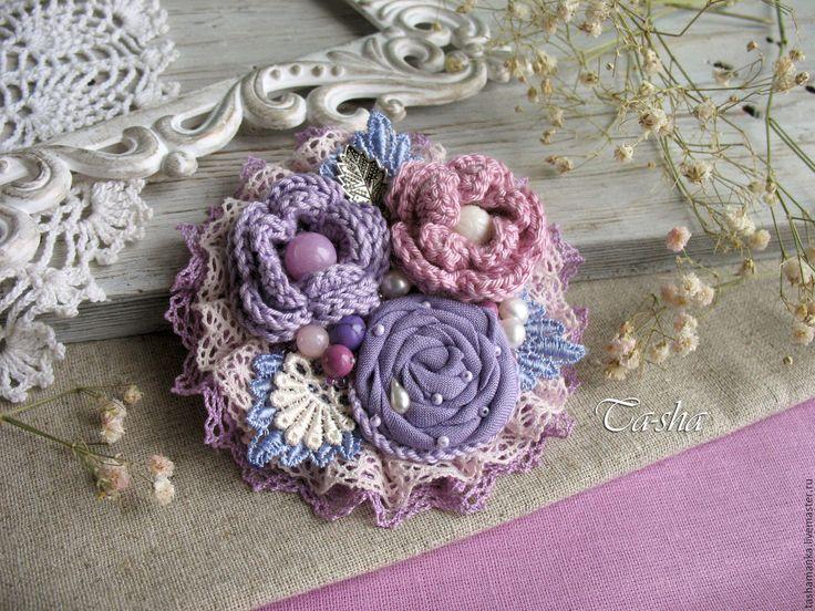 """Купить """"Вереск"""" брошь - брошь цветок, брошь, брошь цветок нежный, броши из ткани"""