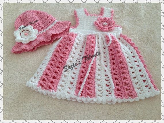 MARIA .... Dress and Hat Set Baby Dress and Hat Set Crochet