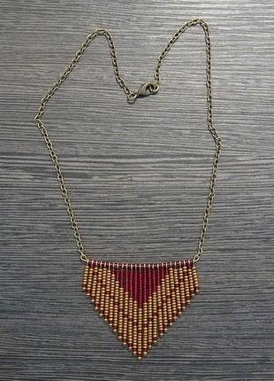 DIY - Collier ethnique/aztèque - coloris rouge  bronze