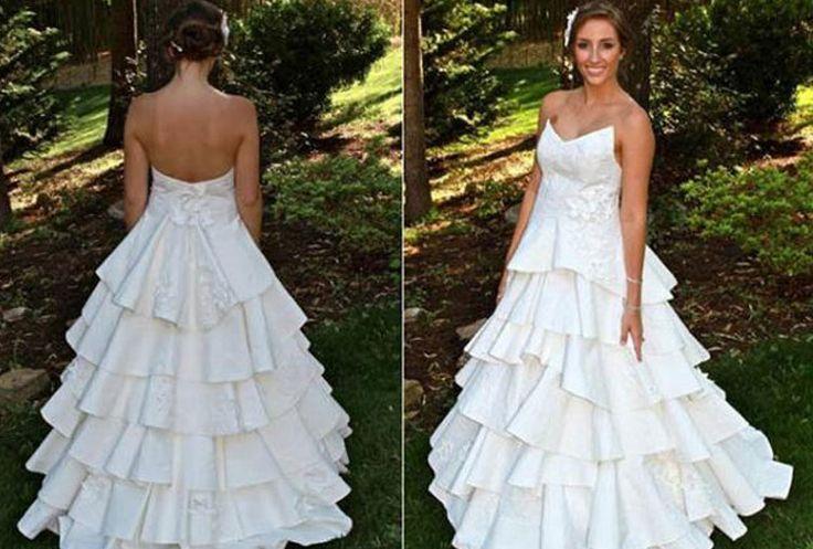 Papel higiénico .Hay todo un universo de vestidos de novia hechos con papel higiénico. La empresa Cheap Chic Weddings lleva desde 2004 organizando un concurso anual de diseños hechos con este material. Pegamento, cinta adhesiva, aguja e hilo son las herramientas que usan sus creadores para unir el material.