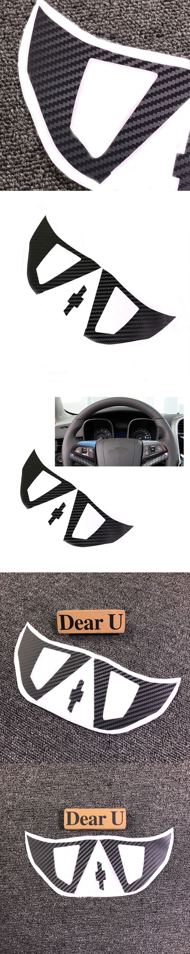 JEAZEA Car Styling 2Pcs Carbon Fiber Steering Wheel Protective Cover Sticker For Chevrolet Holden Malibu 2012 2013 2014