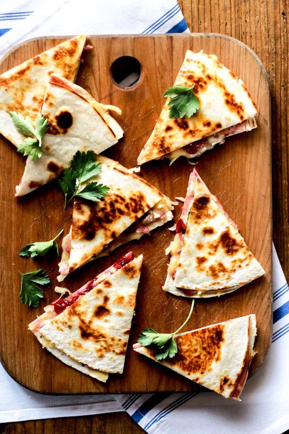 turkey cranberry quesadillas with ham + brie.