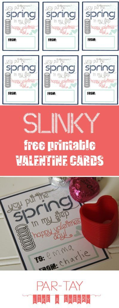 free printable valentines cards perfect for boys or girls, attach a slinky and give out a unique item this year!