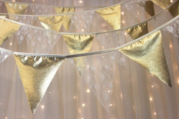 Golden wedding anniversary bunting with vintage by Dollyblue11