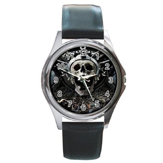Pirate Skull CrossBone Pirates Round Metal Watch by jordaakbarjung