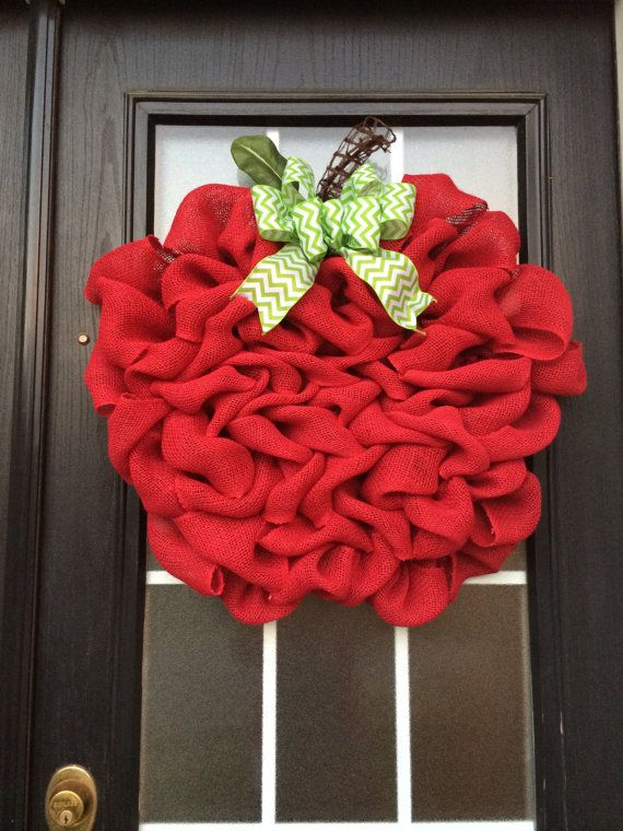 Burlap Apple Wreath Extra Large Red Apple Door Hanger by SnappyPea, $56.99