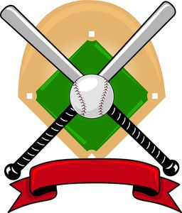 Baseball Clipart Image: Clip Art Illustration Of A Baseball Design Of Bats And A Ball Mounted On A Baseball Diamond With A Red Banner