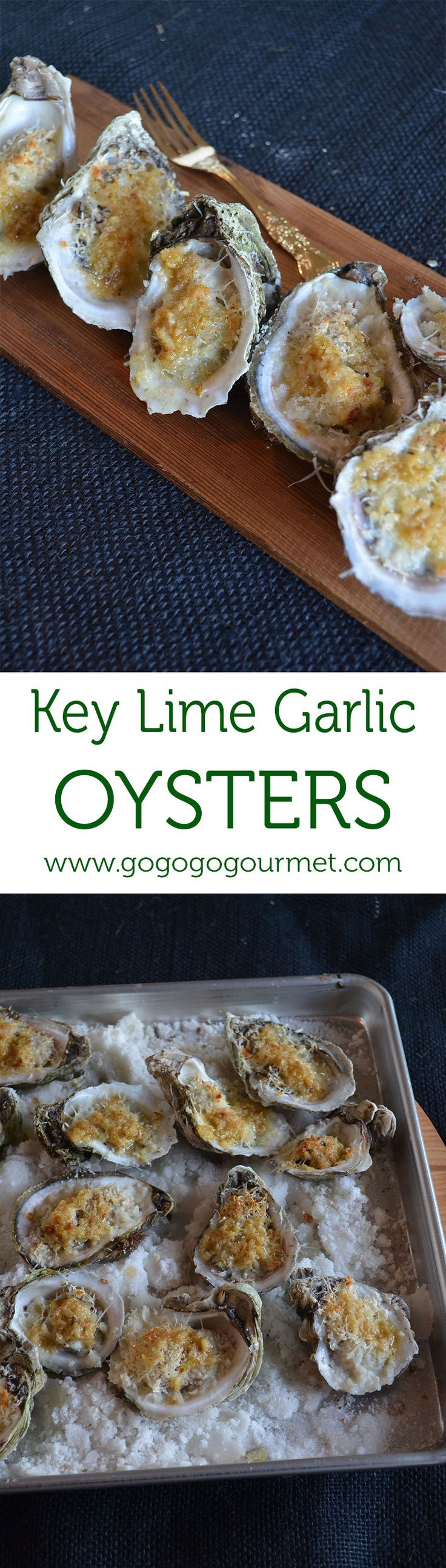 These Key Lime Garlic Oysters are full of citrus flavor, PLUS the baking makes them easier to shuck! | Go Go Go Gourmet @gogogogourmet