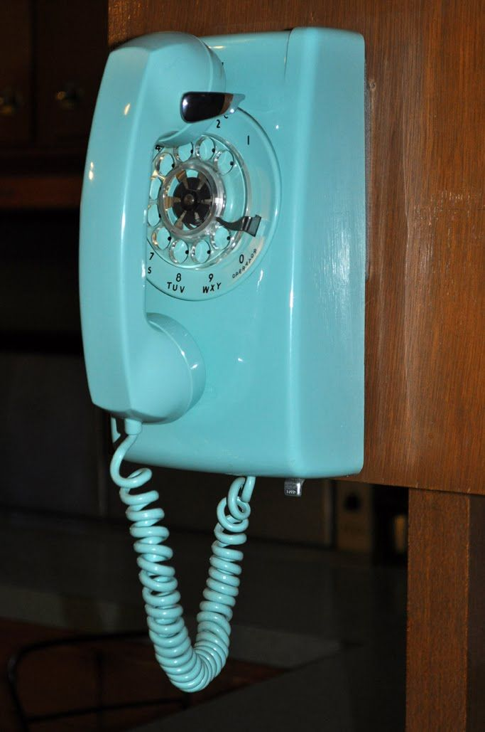Nice Turquoise Rotary Dial Wall Phone In Our Kitchen Liberty Missouri #