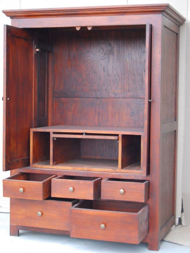 oak entertainment armoire - cabinet TV