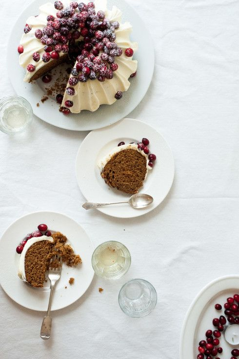 ... gingerbread bundt cake  with cream cheese frosting and sugared cranberries ...