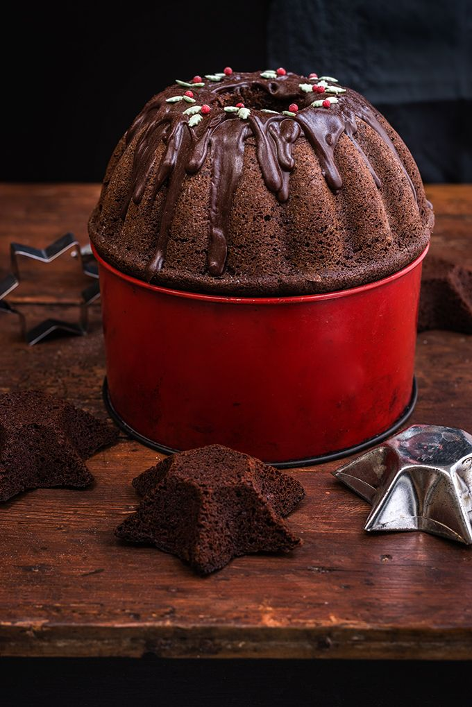 Christmas chocolate Gingerbread Bundt Cake with chocolate glaze
