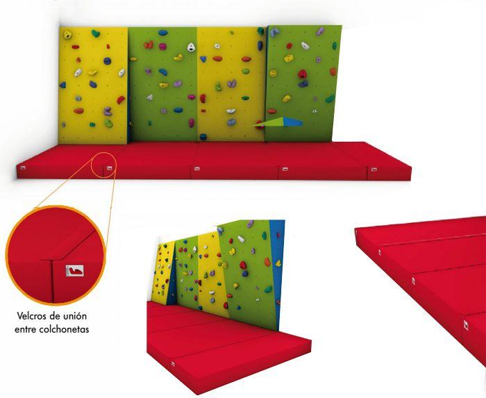 Colchoneta de caída de saltos para rocódromos - Las colchonetas que protegen de caídas fortuitas. En la base del rocódromo instalaremos la colchoneta más adecuada en función de la altura del rocódromo.  Tela en PVC de alta resistencia