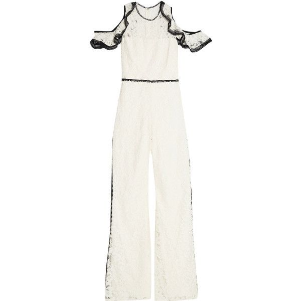 Alexis Philippe cold-shoulder ruffled corded lace jumpsuit (2159565 PYG) ❤ liked on Polyvore featuring jumpsuits, white, lace jumpsuits, white fitted jumpsuit, white lace jumpsuit, jump suit and white jumpsuit