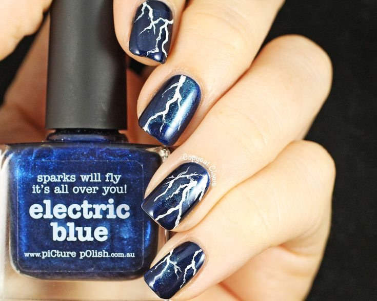 Copycat Claws: Lightning Nail Art & Picture Polish Electric Blue