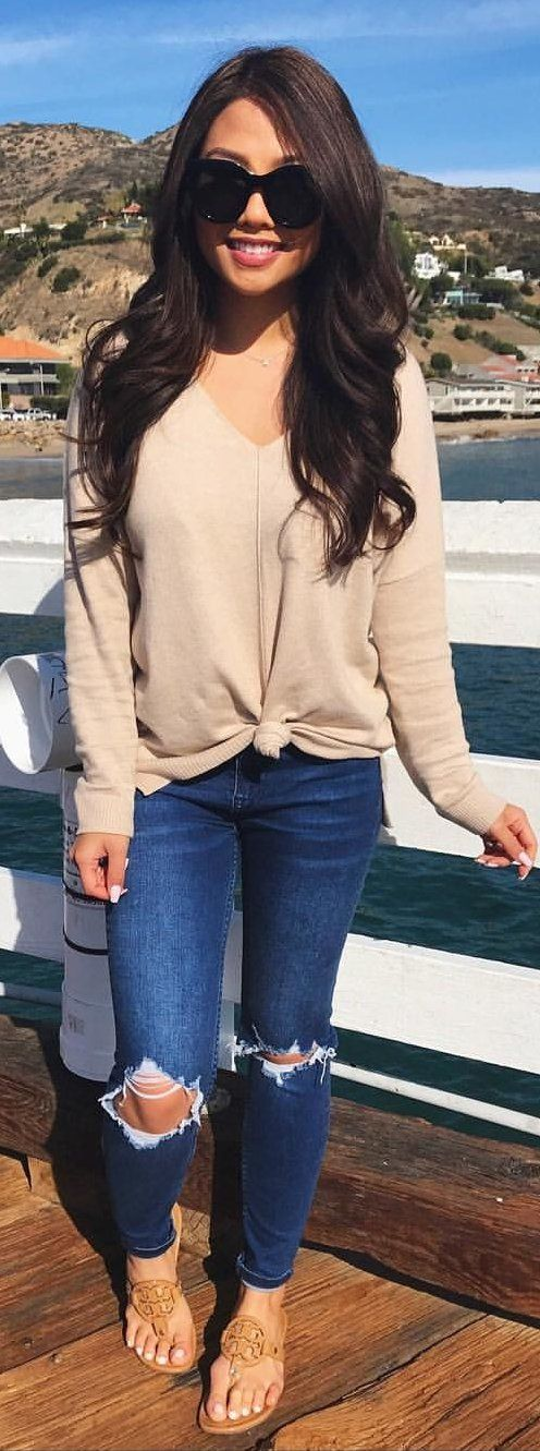 Jeans sweater long sleeve tshirt sandals flats