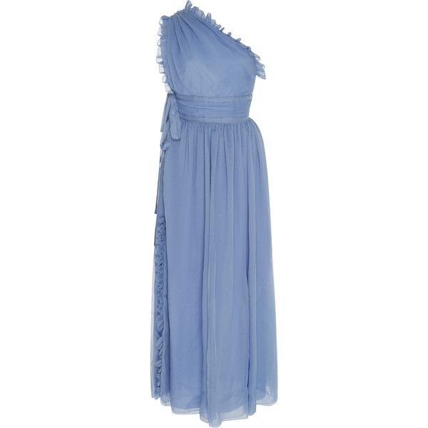 Rochas One-Shoulder Plisse Silk-Chiffon Gown ($2,110) ❤ liked on Polyvore featuring dresses, gowns, blue, blue evening dresses, ruffled dresses, one shoulder dresses, midi evening dresses and blue gown