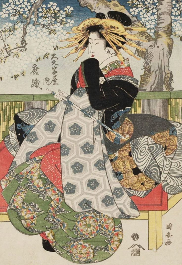 Karaori of the Daimonjiya. Woodblock print, early 1800's, Japan, by artist  Utagawa Kuniyasu.