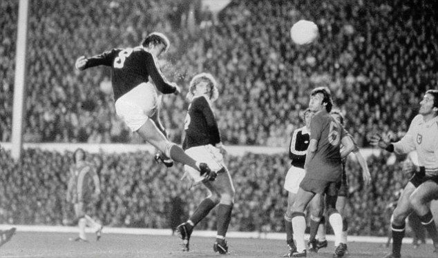Leading the line: Kenny Dalglish finds the net for Scotland against Wales in a World Cup qualifier in 1978