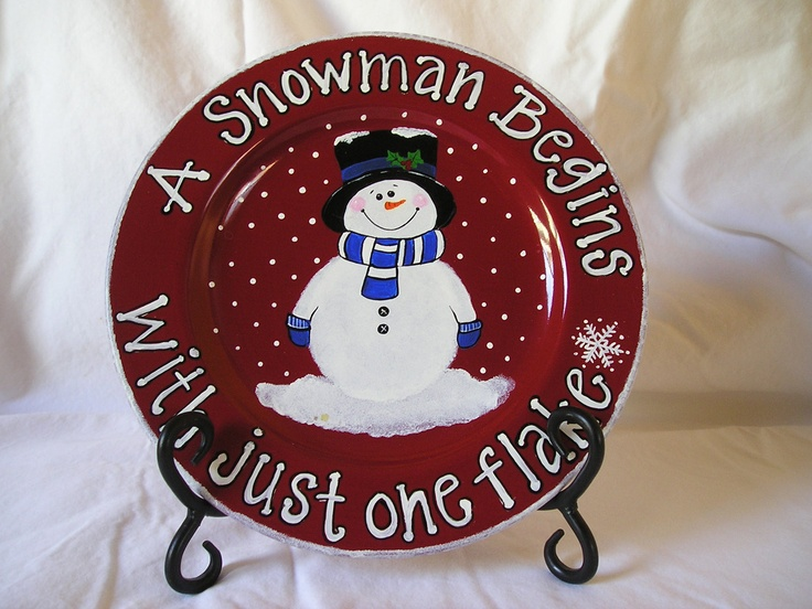 Snowman on Red Plate. $33.00, via Etsy.
