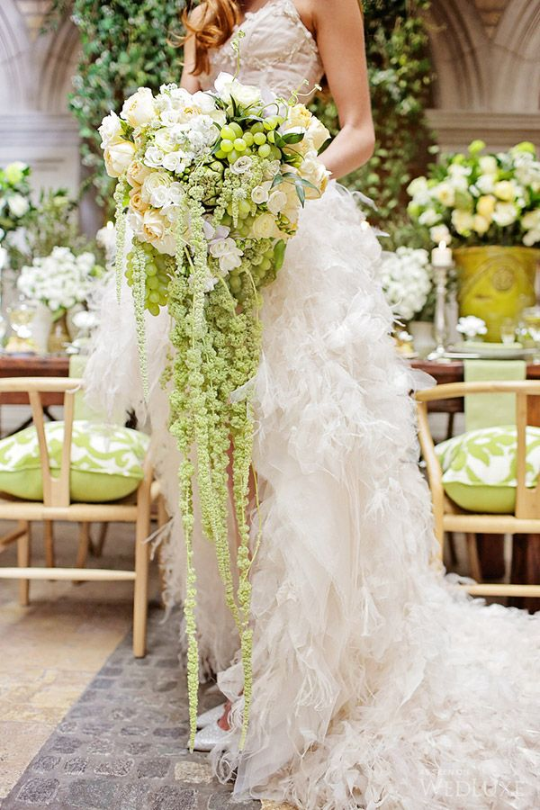 Cascading green and white bouquet