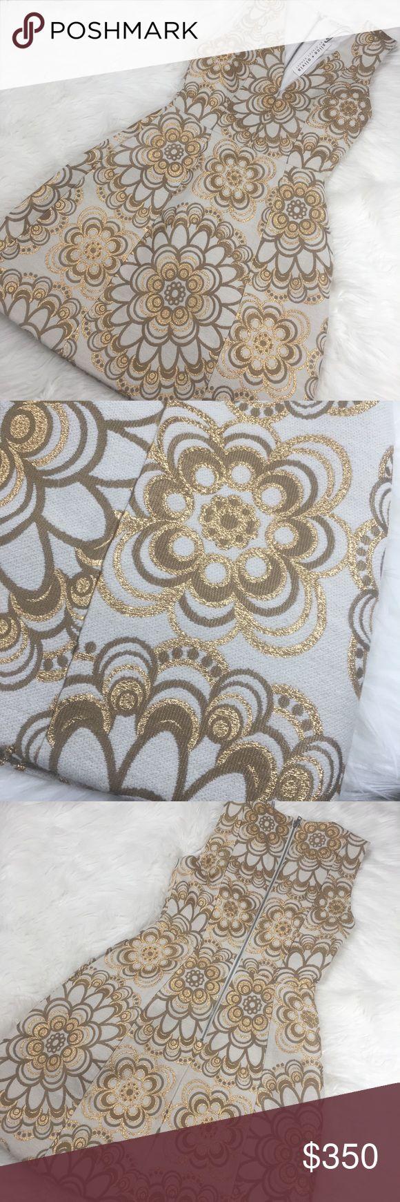 "Alice + Olivia Mandala Deep V-Neck Brocade Dress NEW WITH TAGS!!! Mandala deep v-neck cream gold brocade dress Size: 0 Length: 32.5"" Underarm to Underarm: 15.5"" Material: Acrylic/Acetate/Wool/Polyester/Nylon Alice + Olivia Dresses"