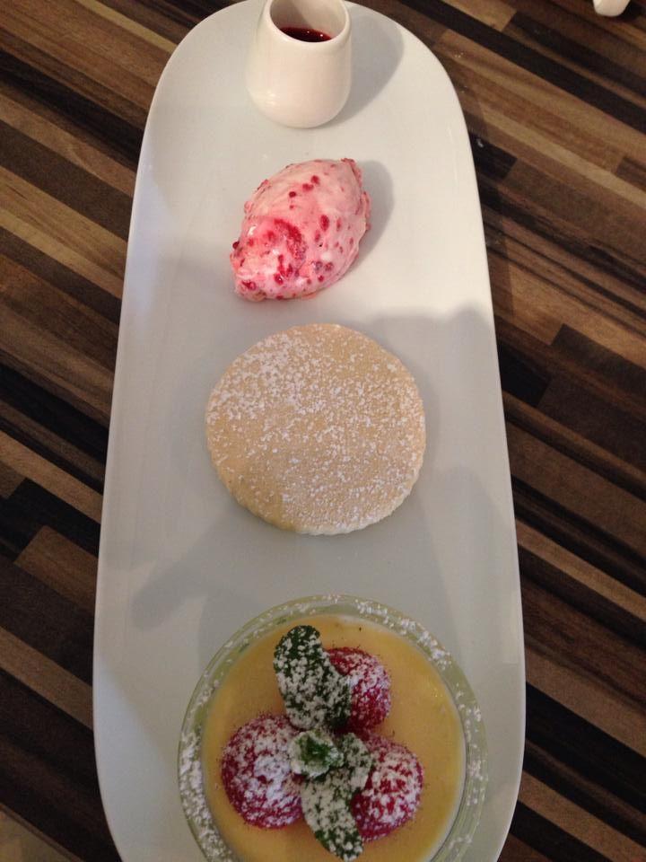 Afternoon Tea? Yummy Lemon posset served with Raspberry Cream, Vanilla Shortbread and Fresh Raspberry Coulis. Yum Yum!