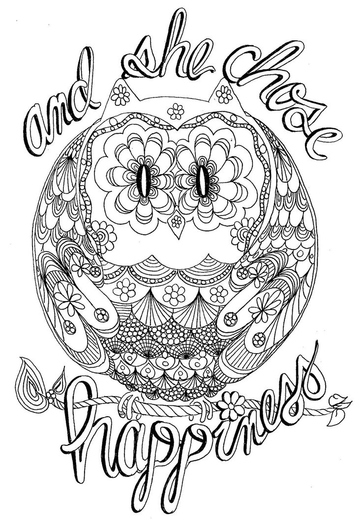 And She Chose Happiness Happy Hippy Owl Coloring Page Davlin Publishing Adultcoloring