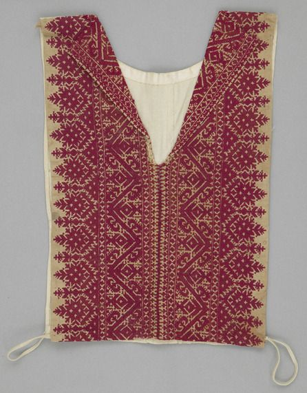 """non-westernhistoricalfashion: """" Object Name: False Shirtfront Place Made: Africa: North Africa, Morocco, Fez Period: Early 20th century Date: 1900 - 1930 Dimensions: L 39 cm x W 25 cm Materials:..."""