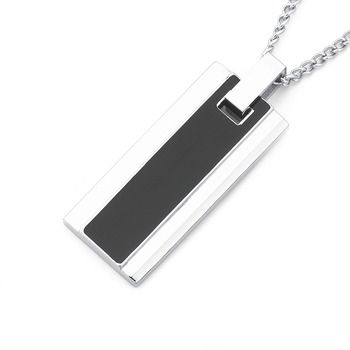 Chisel Stainless Steel Black Stripe Pendant | Pascoes The Jewellers