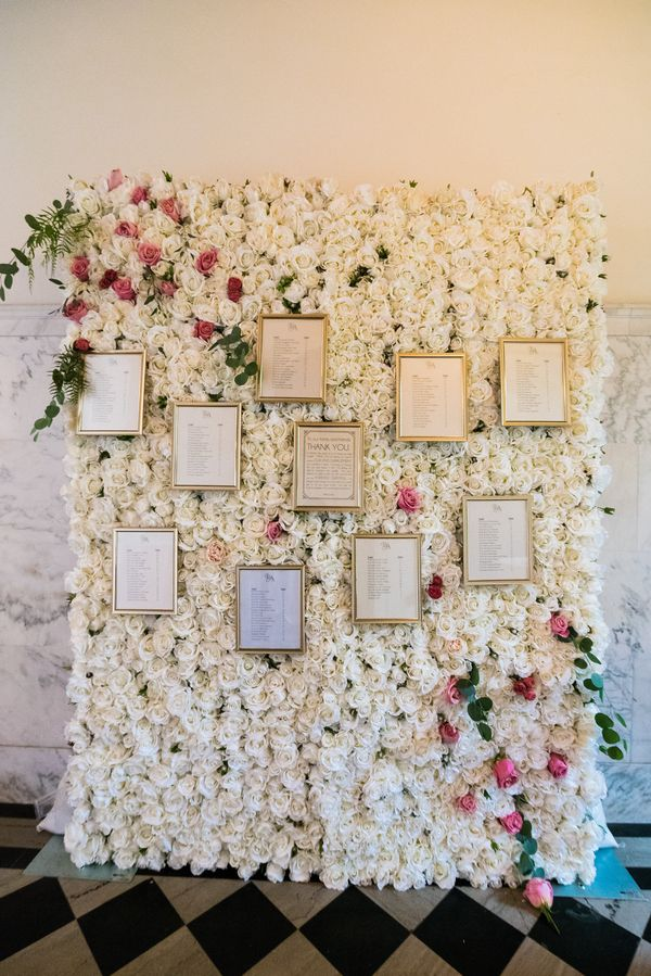 Flower Wall for a Luxe Escort Card Display | Lin and Jirsa Photography on @AislePerfect