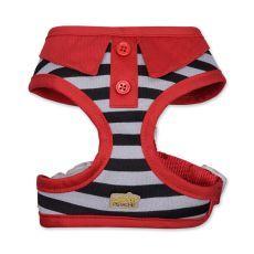Harnais rayé rouge avec col de chemise pour petit chien