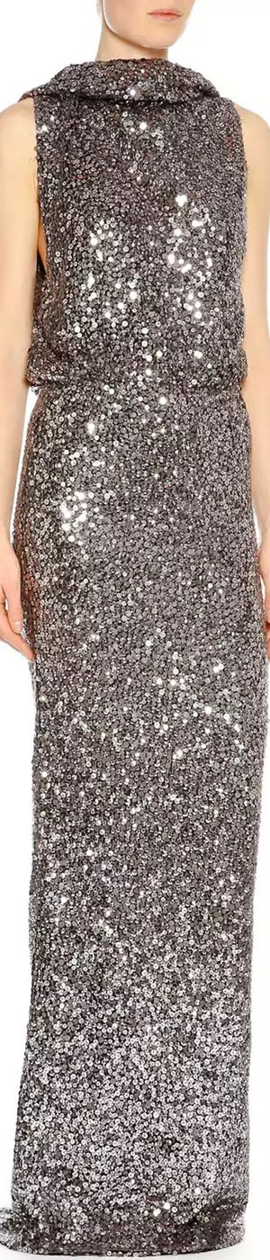 TOM FORD Draped Sequin-Embroidered Gown, Metallic Silver