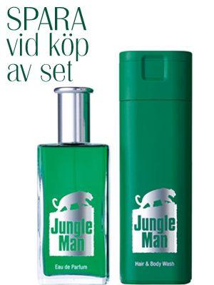 Jungleman Doftset 1.  - Eau de parfym 50 ml. - Har & body Wash 200 ml.  En äventyrlig doft med lavendel, grön mynta & ädla tonkabönor. Denna doft har från den tid den skapades skrivit sin egen historia. Den gömmer sig aldrig men är ändå hemlighetsfull. Doften skapar en aura som består & lämnar ingen oberörd. den ger en känsla av att alltid vara på språng - på jakt efter större utmaningar. Den låter sig inte tämjas - målet är total frihet. Män gillar doftens lojalitet.    459:-   Fri frakt.