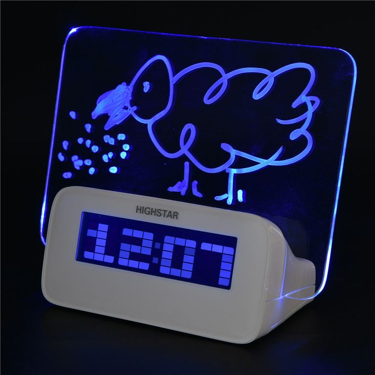 Scribble Alarm Clock Led Fluorescent Memo Message Board Digital Calendar &Pen Bt