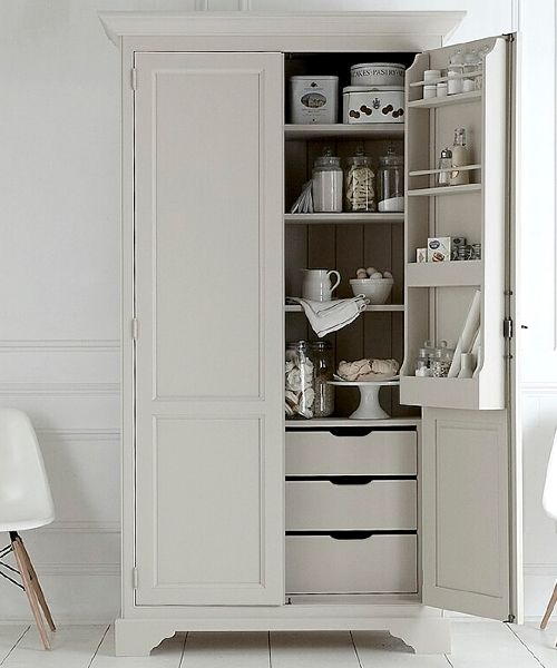Hugely practical larder cupboard with wonderfully spacious food storage space for boxes tins vegetables spice jars and all the goodies you can fill